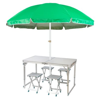 6.5 Lightweight Folding Camp Table Beach Umbrella Color: Green