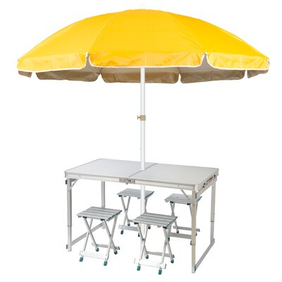6.5 Lightweight Folding Camp Table Beach Umbrella Color: Yellow
