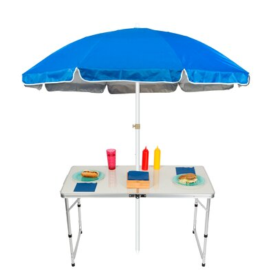 6.5 Adjustable Portable Folding Camp Table Beach Umbrella Color: Blue