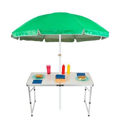 6.5 Adjustable Portable Folding Camp Table Beach Umbrella Color: Green