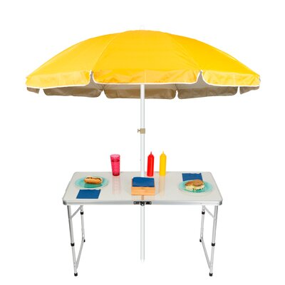 6.5 Adjustable Portable Folding Camp Table Beach Umbrella Color: Yellow