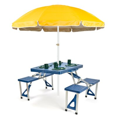 6.5 Portable Folding Picnic Table and Beach Umbrella Color: Yellow