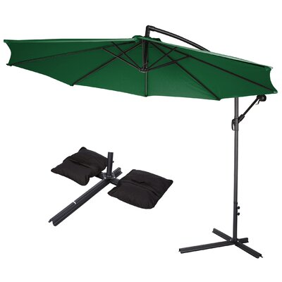 10 Deluxe Offset Patio Cantilever Umbrella Color: Dark Green