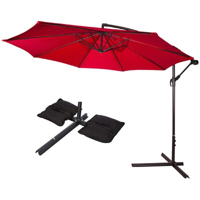 10 Deluxe Offset Patio Cantilever Umbrella Color: Red