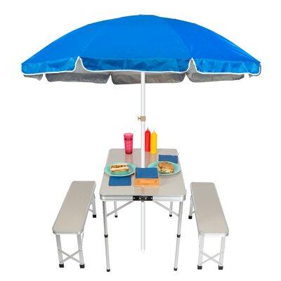 Portable Folding Picnic Garden Bench Table Color: Blue