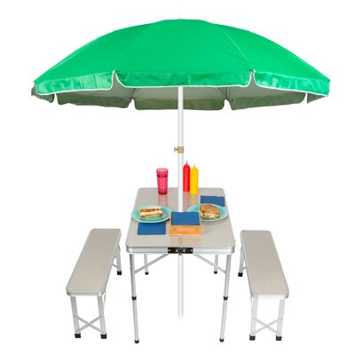 Portable Folding Picnic Garden Bench Table Color: Green