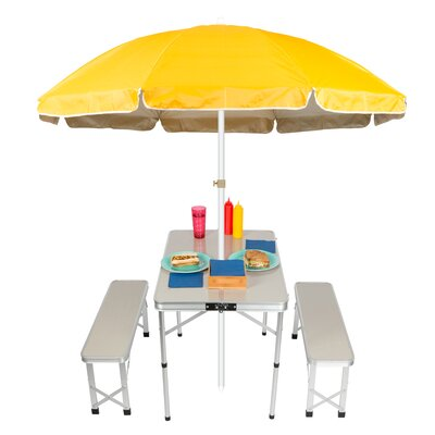 Portable Folding Picnic Garden Bench Table Color: Yellow