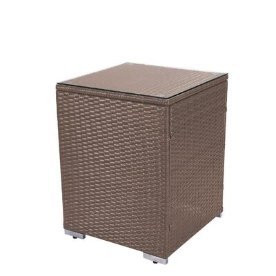 Square Rattan Patio Side Table