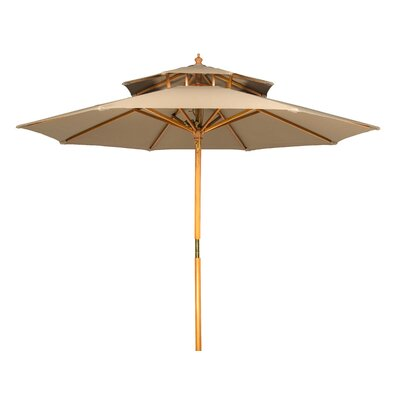 Myriam 9 Wood 2 Tier Pagoda Style Patio Market Umbrella