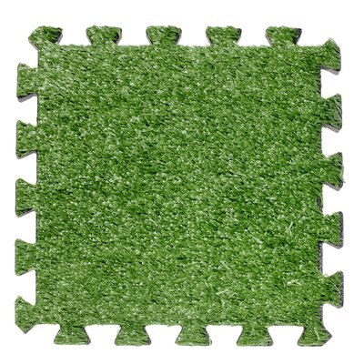Interlocking Artificial Grass Deck 12 x 12 Carpet Tile in Green