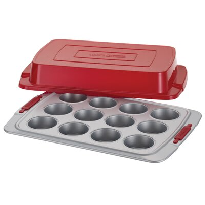 Cake Boss Deluxe 12 Cup Nonstick Covered Muffin Pan 59439