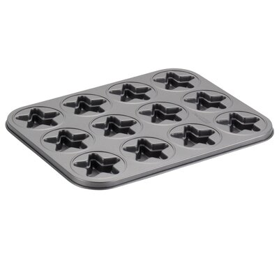 Novelty 12 Non- Stick Cup Star Molded Cookie Pan 59408