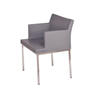 Soho Metal Base Eco Leather Arm Chair Finish: Grey
