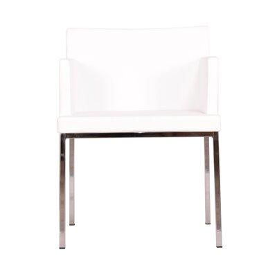 Soho Metal Base Eco Leather Armchair Finish: White