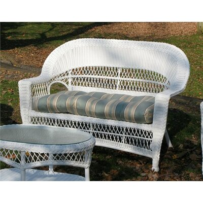 Camacho Outdoor Wicker Loveseat Fabric: Sunbrella Navy, Finish: Natural