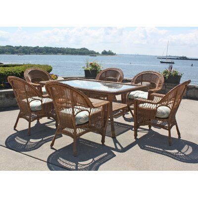 Camacho 7 Piece Dining Set with Cushion Fabric: Jamaica Mist, Finish: Natural