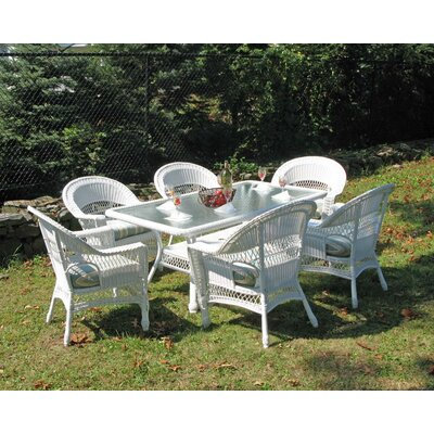 Camacho 7 Piece Dining Set with Cushion Finish: White, Fabric: Sunbrella Navy