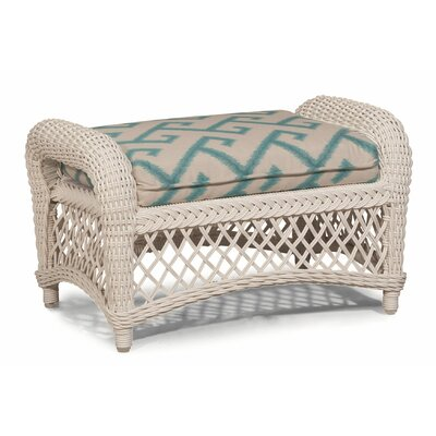 Savannah Ottoman with Cushion Fabric: Green White Stripe