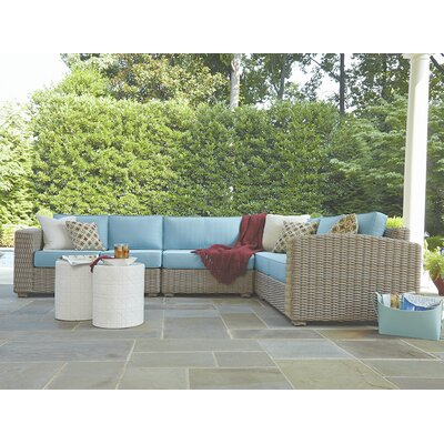 Monaco Sectional with Cushions Finish: Driftwood, Fabric: Foster Surfside
