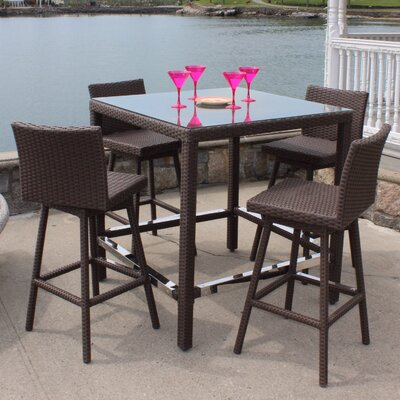 Sonoma Outdoor Wicker Swivel Bar Height 5 Piece Dining Set
