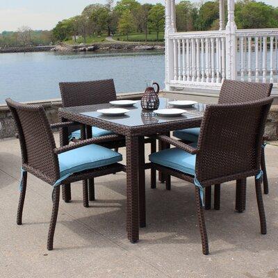 ElanaMar Designs Sonoma 5 Piece Dining Set - Fabric: Spa
