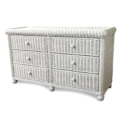 Elana 6 Drawer Double Dresser Color: White