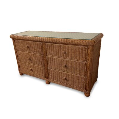 Elana 6 Drawer Double Dresser Color: Honey