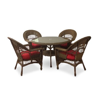 Camacho 5 Piece Dining Set with Cushions Color: Natural