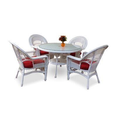 Camacho 5 Piece Dining Set with Cushions Color: White