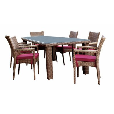 Santa Barbara 7 Piece Dining Set with Cushions Fabric: Natural