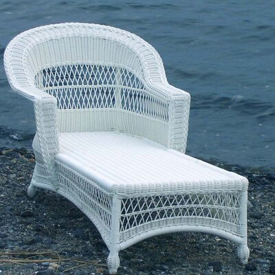 Camacho Chaise Lounge with Cushion Finish: White, Fabric: Sunbrella Red