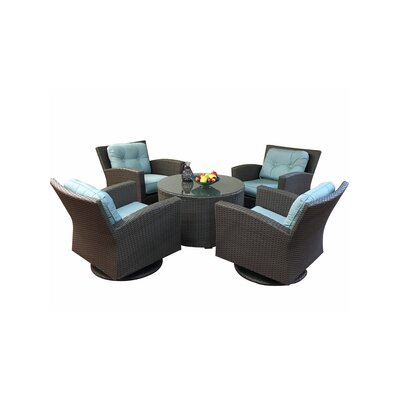 Sonoma 5 Piece Deep Swivel Seating Group with Cushions Fabric: Sunbrella Natural