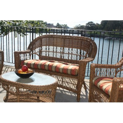 Camacho Outdoor Wicker Loveseat Fabric: Sunbrella Red, Finish: Natural