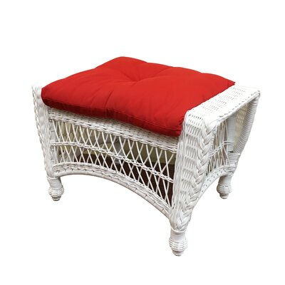 Camacho Ottoman with Cushion Fabric: Jamaica Mist, Finish: Natural