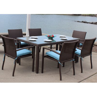 Sonoma Outdoor Wicker 7 Piece Dining Set with Cushions Cushion Color: Foster Surfside