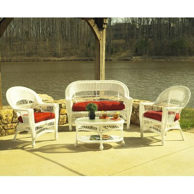 Camacho 4 Piece Deep Seating Group with Cushions Finish: White, Fabric: Sunbrella Foster Surfside