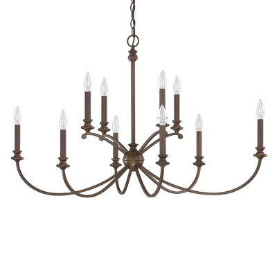 Alexander 10-Light Candle-Style Chandelier Finish: Burnished Bronze, Size: 24.75