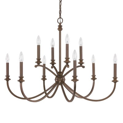 Alexander 10-Light Candle-Style Chandelier Finish: Burnished Bronze, Size: 25.5