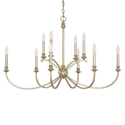Alexander 10-Light Candle-Style Chandelier Finish: Winter Gold, Size: 24.75 H x 41.25 W x 23 D