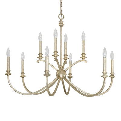 Alexander 10-Light Candle-Style Chandelier Finish: Winter Gold, Size: 25.5 H x 36 W