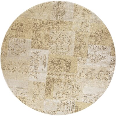 Timeless Champagne Tapestry Area Rug Rug Size: Round 77