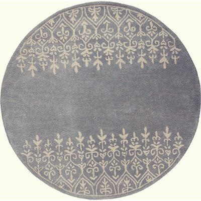 Harmony Hand-Woven Wool Gray Area Rug Rug Size: Round 56