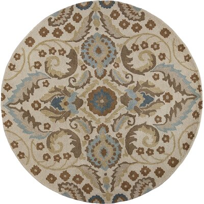Harmony Sand Tapestry Area Rug Rug Size: Round 56