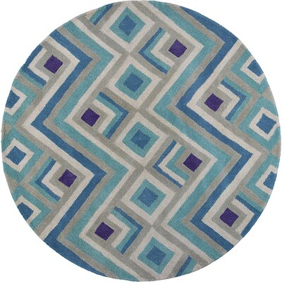 Harmony Ivory/Blue Area Rug Rug Size: Round 56