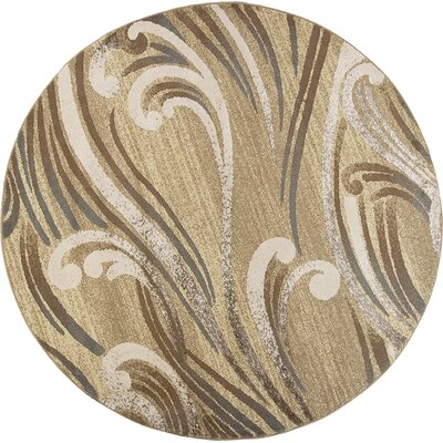 Timeless Natural Scrolls Area Rug Rug Size: Round 77