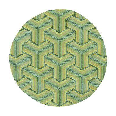 Donny Osmond Home Escape Handmade Green Area Rug Rug Size: Round 76
