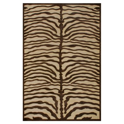Saphir Ivory/Chocolate Area Rug Rug Size: Rectangle 76 x 106