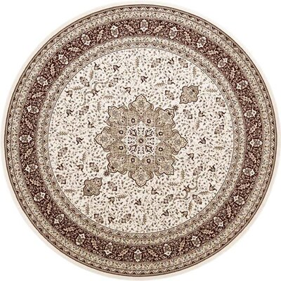 Daria Cream / Red Rug Rug Size: Round 8