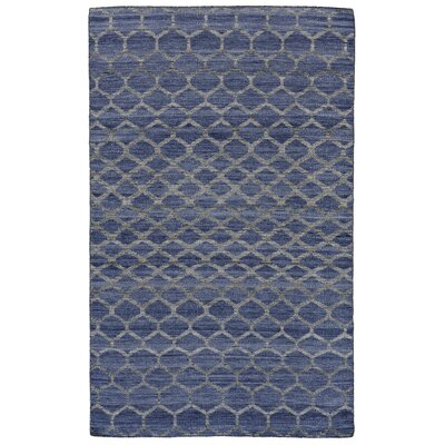 Hallock Hand-Loomed Blue Wool Pile Area Rug Rug Size: Rectangle 4 x 6