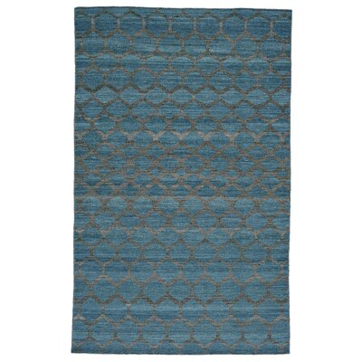 Hallock Hand-Loomed Teal Wool Pile Area Rug Rug Size: Rectangle 4 x 6